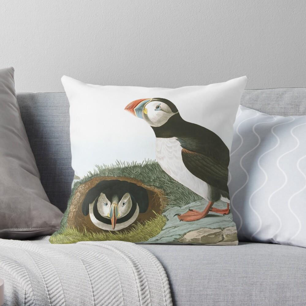 Atlantic Puffin - John James Audubon Throw Pillow