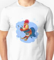 Bright cock for skiing in the winter.  Unisex T-Shirt
