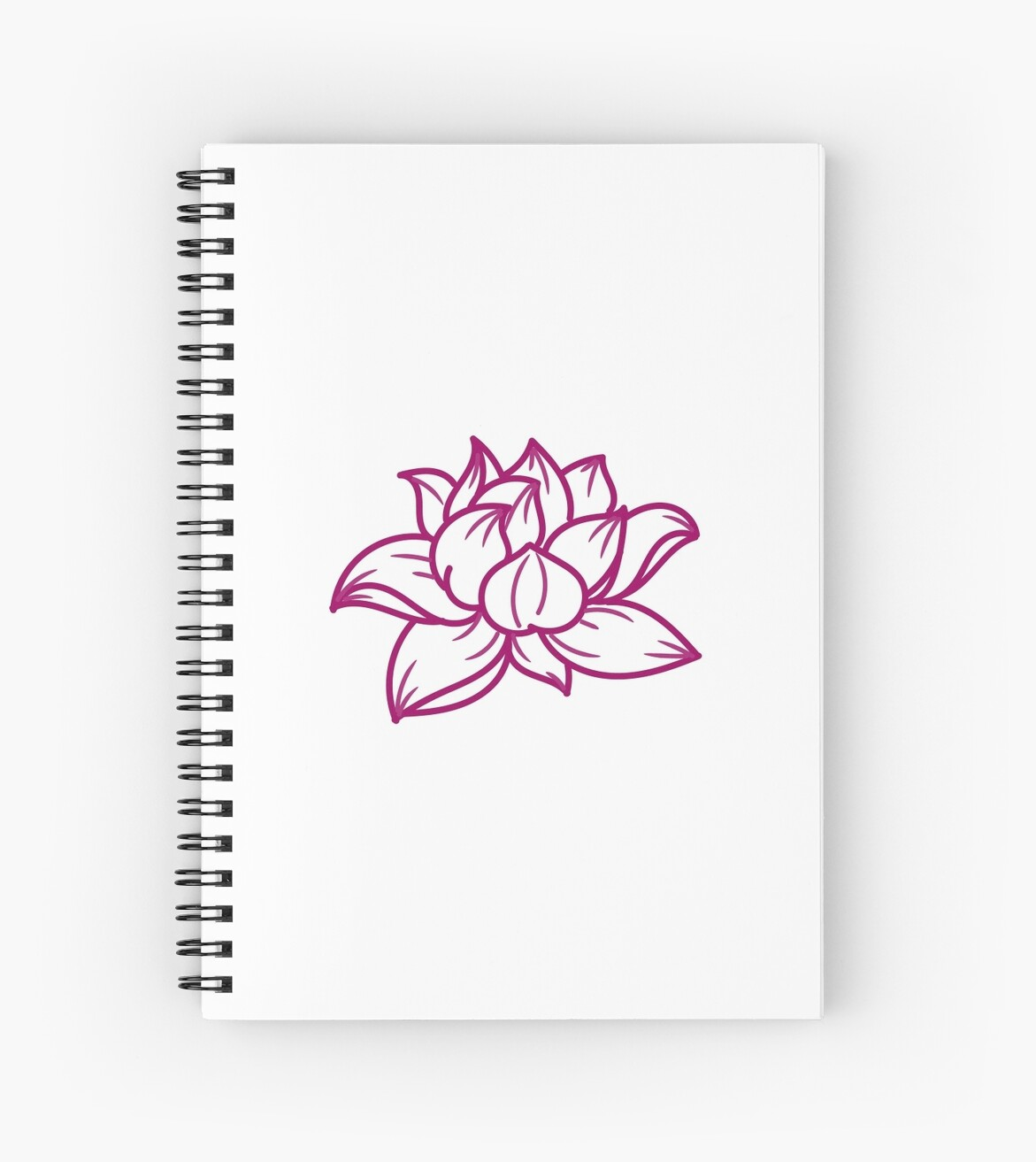 Lotus Flower Maroon Simple Outline Design Spiral Notebooks By
