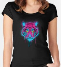 CMYK Tiger Graffiti Women's Fitted Scoop T-Shirt
