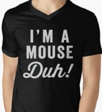 I'm A Mouse, Duh! White Ink - Mean Girls Quote Shirt, Mean Girls Costume, Costume Shirt, Lazy Costume, Halloween Men's V-Neck T-Shirt