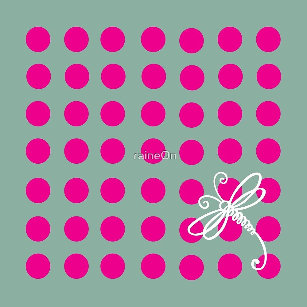 Pink Polkadot Dragonfly Art  by raineOn