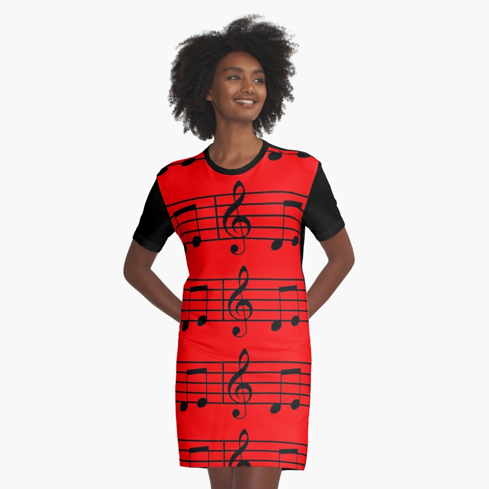 music notes Graphic T-Shirt Dress