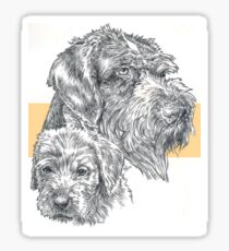 German Wire-haired Pointer, Father and Son Sticker