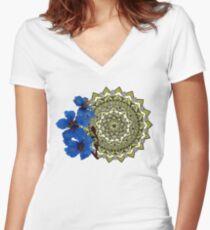Royal blue magnolia mandala Women's Fitted V-Neck T-Shirt