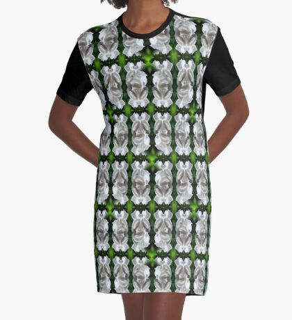 White Rose Abstract Nature Art Graphic T-Shirt Dress