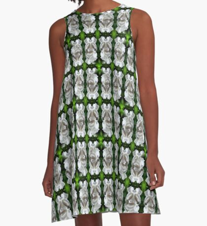 White Rose Abstract Nature Art A-Line Dress