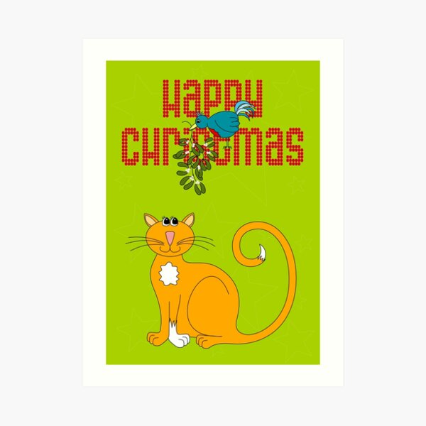 Happy Christmas in Red Art Print