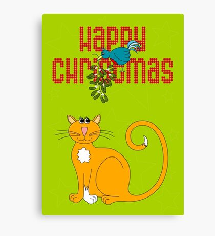 Happy Christmas in Red Canvas Print