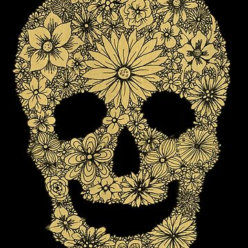 Sugar Skull with Black Floral Design by ElfRenee