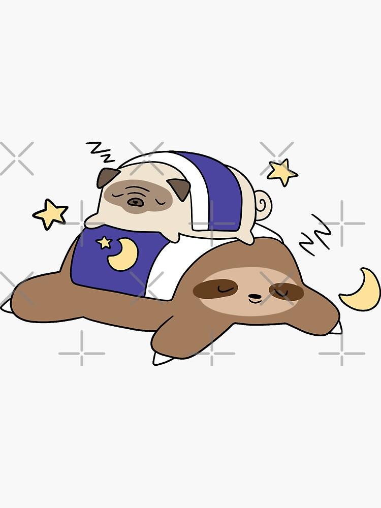 Sleepy Pug and Sloth by SaradaBoru