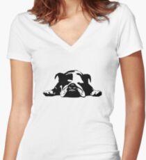 Bulldog Women's Fitted V-Neck T-Shirt