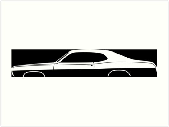 Car Silhouette Dusty American Muscle Art Prints By Turnerco
