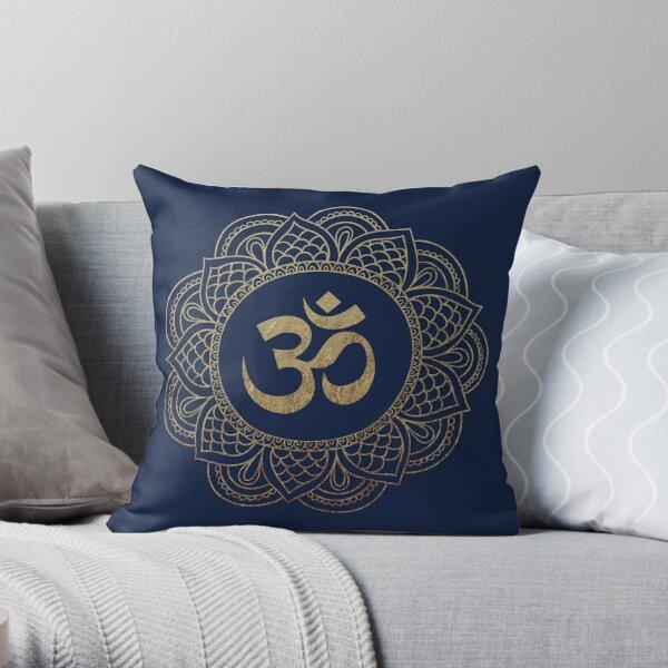Gold Ohm Mandala Throw Pillow