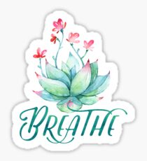 Watercolor succulent breathe yoga Sticker