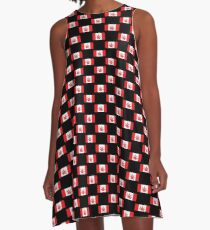 Canadian Flag Marijuana Leaf A-Line Dress