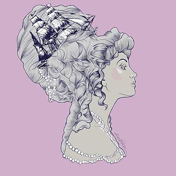 Marie Antoinette Rococo Ship hair by alisadraws