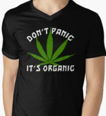 Funny Cannabis Don't Panic It's Organic Men's V-Neck T-Shirt