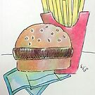 Hamburger with fries by Loretta Nash