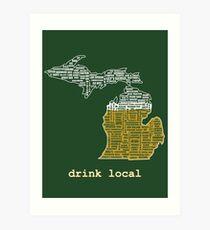 Drink Local (MI) Art Print