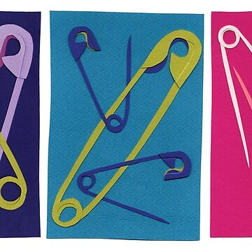 Multiple Safety Pins - Teal, Purple, and Pink by sagworks