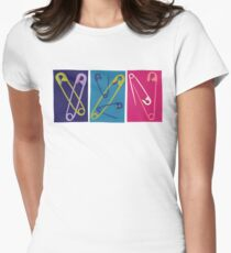 Multiple Safety Pins - Teal, Purple, and Pink Women's Fitted T-Shirt
