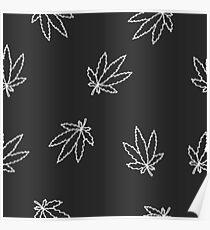 seamless doodle pattern. cannabis (marijuana leaf) Poster