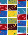 6 multi-colored safety pin by sagworks