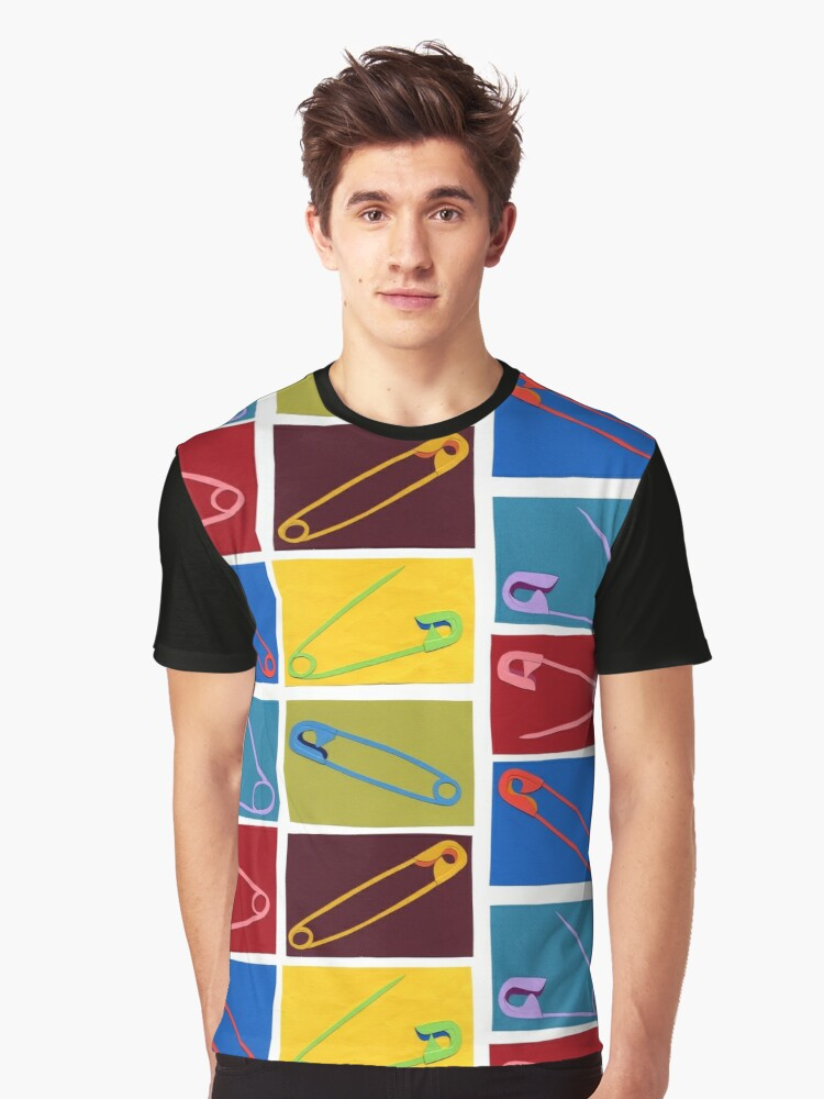 6 multi-colored safety pin Graphic T-Shirt Front