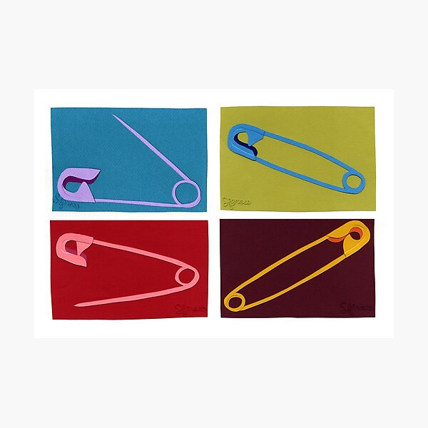 4 safety pins Photographic Print