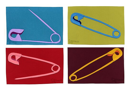4 safety pins by sagworks