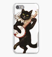 Vintage Cat Playing Banjo iPhone Case/Skin