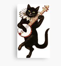 Vintage Cat Playing Banjo Canvas Print