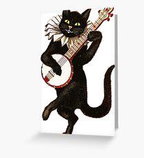 Vintage Cat Playing Banjo Greeting Card