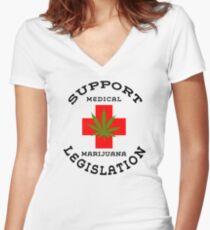 Support Medical Marijuana Legislation Women's Fitted V-Neck T-Shirt