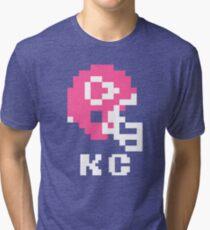 Tecmo Bowl, Tecmo Super Bowl, Tecmo Bowl Shirt, Tecmo Bowl T-shirt, Tecmo Bowl Helmet, KC Helmet, KC Tri-blend T-Shirt
