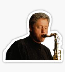 Bill Clinton playing a saxophone  Sticker