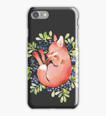 Sleeping fox and blue berries iPhone Case/Skin