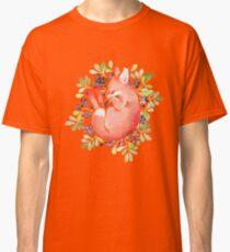 Sleeping fox and blue berries Classic T-Shirt