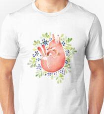 Sleeping fox and blue berries T-Shirt
