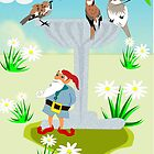Garden Theme (Bird Bath &Gnome 2300 Views) by aldona