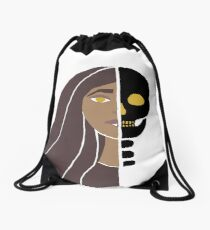 Girl With Skull Face Drawstring Bag