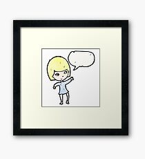 pretty blond girl cartoon Framed Print
