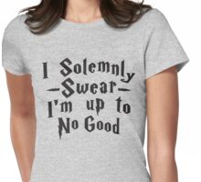 I Solemnly Swear I'm Up To No Good, Black Ink | Women's Harry Potter Quote, Deathly Hallows Womens Fitted T-Shirt