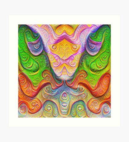 Color Stone carving #DeepDream Art Print