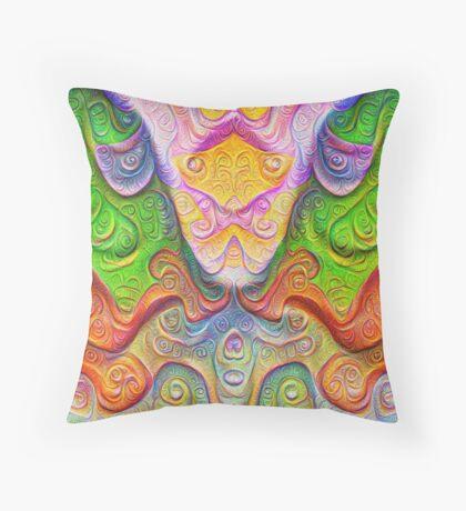 Color Stone carving #DeepDream Throw Pillow