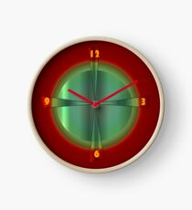 Mirror Image Green with Red Background Clock
