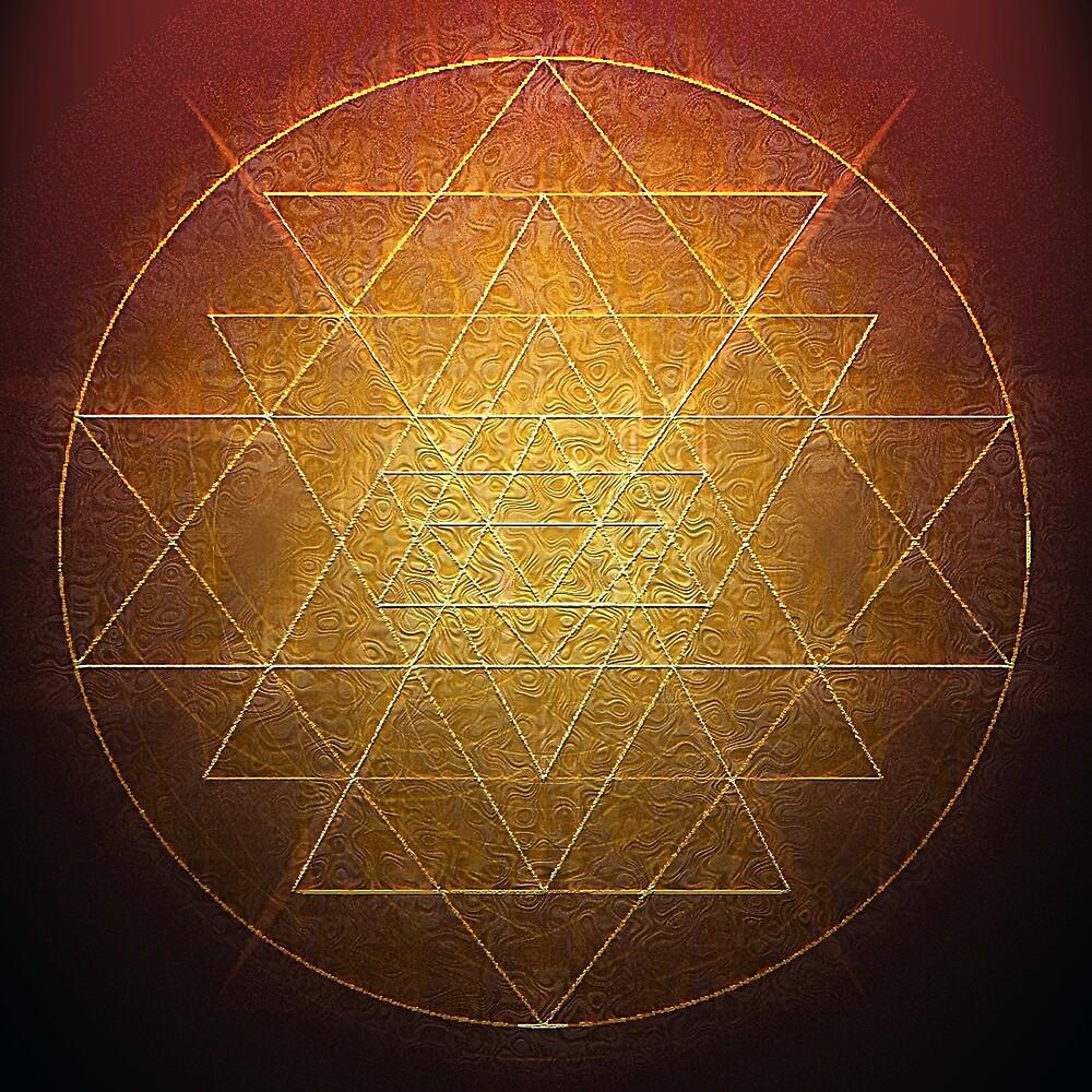 Sri Chakra in Gold Wire by Kim  Lynch