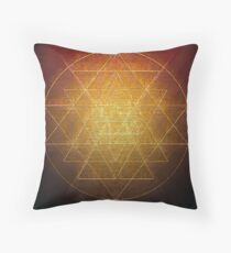 Sri Chakra in Gold Wire Throw Pillow
