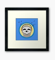 Cool Sloth is hearing music Framed Print